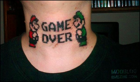 mario neck tattoo