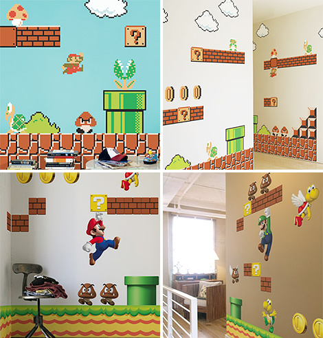 Mario brothers wall decals new super mario brothers wii wall decals with wall decal - Mario wall clings ...