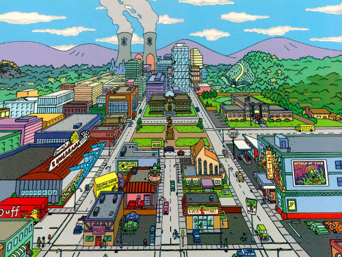 Take A Trip Through Springfield   Gearfuse Map Of Springfield Simpsons on