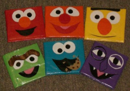 Wallets with faces made from duct tape