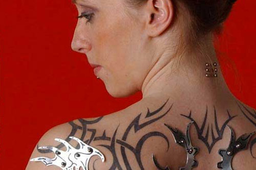 tribalarmor1 Use Piercings and Tattoos to Create Bio Mechanical Body Mods