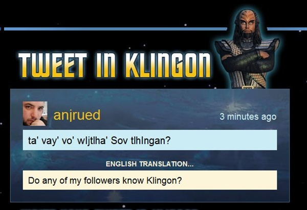 tweet-in-klingon