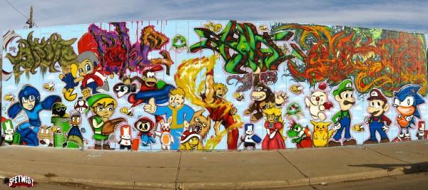 graffiti wallpaper murals. Gaming Graffiti Mural Features