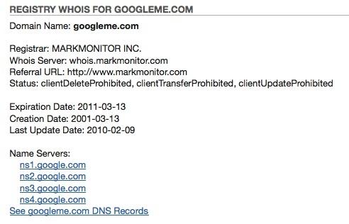 Google Me Website Registered By Google