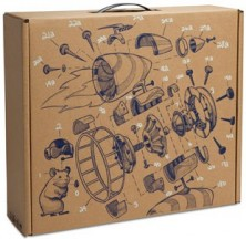 Cardboard box with a diagram of a hamster-powered jet on the top