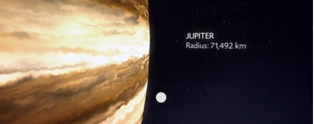 Jupiter in the Moon's Orbit: Off the Scale