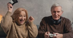 old couple playing video game