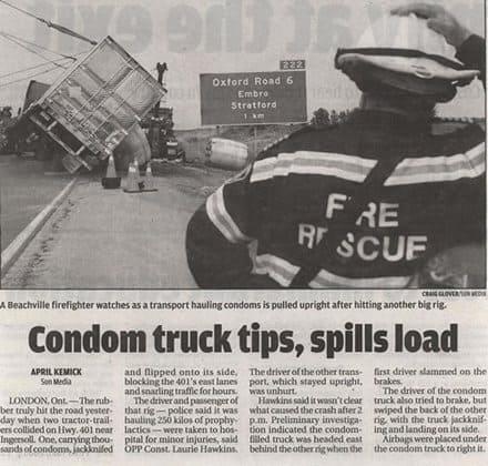 Condom Truck Spills Load