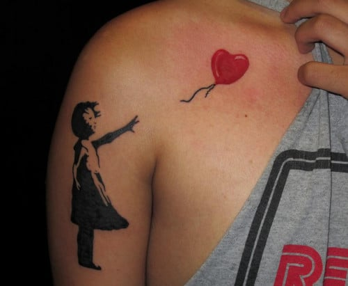Banksy Tattoo Heart Balloon