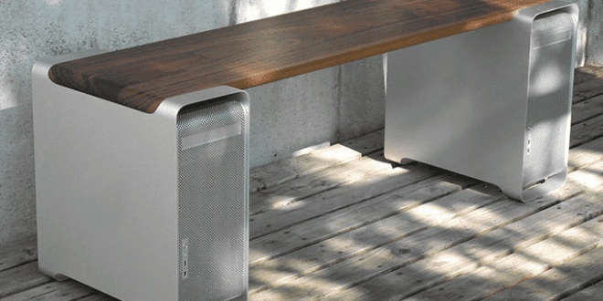 A Bench and End Table Made Out of Repurposed Apple Mac Towers