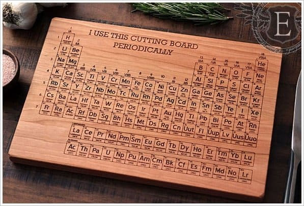 Hand carved periodic table cutting board gearfuse - Periodic table chopping board ...