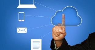 Touching Cloud Computing - Stock Image