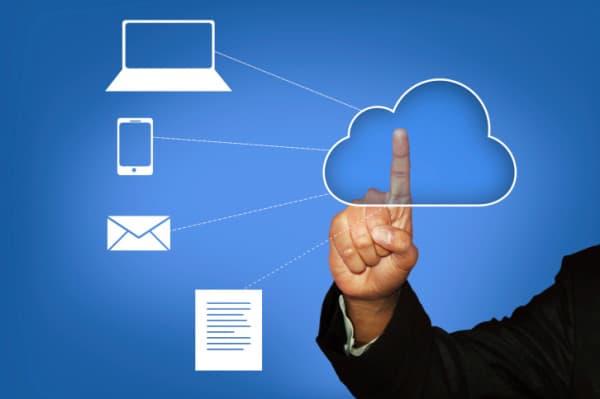 Touching Cloud Computing - Stock Image