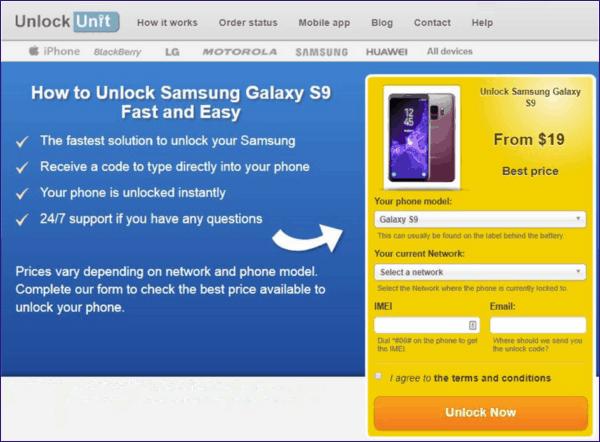 Online unlock provider