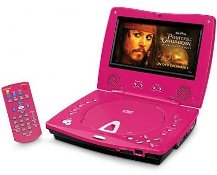 pink portable dvd player for your life partner gearfuse. Black Bedroom Furniture Sets. Home Design Ideas
